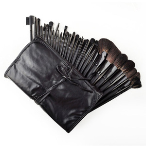 32-Piece Black Rod Makeup Brush Cosmetic Set with Case