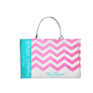 Too Faced Chevron Canvas Tote