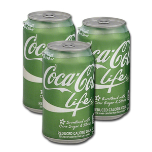 Coca Cola Life Reduced Calorie Cola 3 Pack (355ml per can)