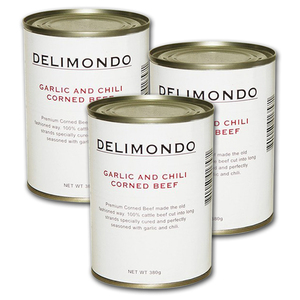 Delimondo Garlic & Chili Corned Beef 3 Pack (380g per pack)