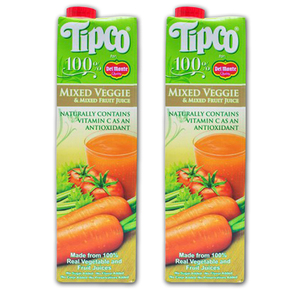 Tipco 100% Mixed Veggies and Mixed Fruit Juice for Del Monte 2 Pack (1L per pack)