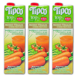 Tipco 100% Mixed Veggies and Mixed Fruit Juice for Del Monte 3 Pack (1L per pack)