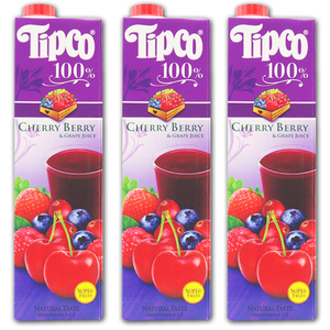 Tipco 100% Cherry Berry & Grape Juice for Del Monte 3 Pack (1L per pack)