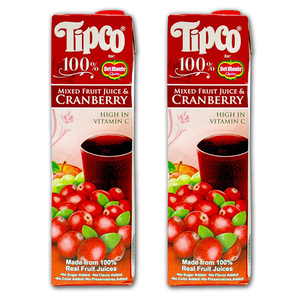 Tipco 100% Mixed Fruit Juice & Cranberry for Del Monte 2 Pack (1L per pack)