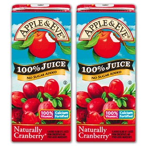 Apple & Eve Naturally Cranberry 100% Juice 2 Pack (200ml per pack)