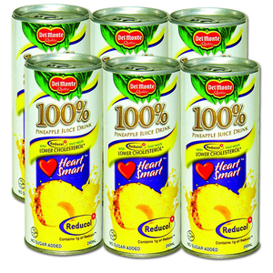 Del Monte 100% Pineapple Juice with Reducol 6 Pack (240ml per can)