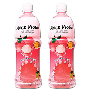 Mogu Mogu Lychee Juice with Nata De Coco 2 Pack (1L per bottle)