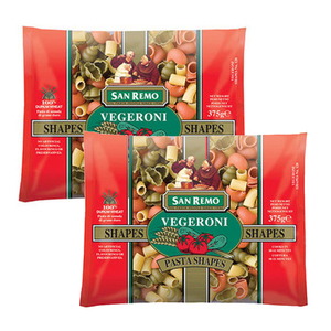 San Remo Vegeroni Shapes 2 Pack (375g Per Pack)