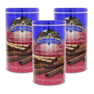 Royal Dansk Luxury Wafers with Chocolate Cream Filling 3 Pack (350g Per Cans)