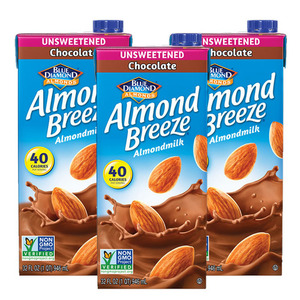 Blue Diamond Almond Breeze Unsweetened Chocolate Almondmilk 3 Pack (946ml Per Pack)