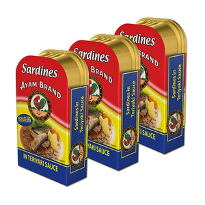 Ayam Brand Fried Sardines in Teriyaki Sauce 3 Pack (120g per can)