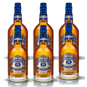 Chivas Regal Aged 18 Years Gold Signature Blended Scotch Whisky 6 Pack (750ml per Bottle)