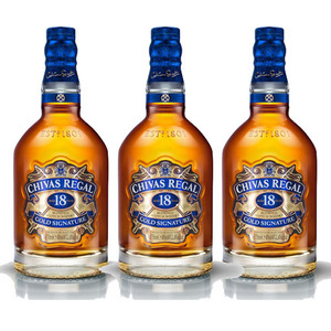 Chivas Regal Aged 18 Years Gold Signature Blended Scotch Whisky 3 Pack (750ml per Bottle)