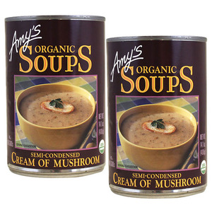 Amy's Organic Soups Cream of Mushroom 2 Pack (400g per Can)