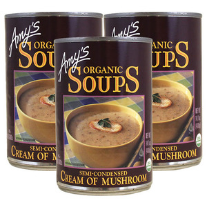 Amy's Organic Soups Cream of Mushroom 3 Pack (400g per Can)