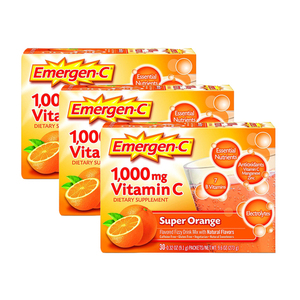 Emergen-C 1000mg Vitamin C Super Orange Dietary Supplement 3 Pack (30's per Pack)