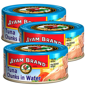 Ayam Brand Tuna Chunks in Water 3 Pack (150g per Can)