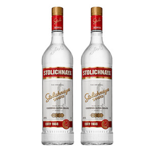 Stolichnaya Premium Vodka 2 Pack (750ml per Bottle)