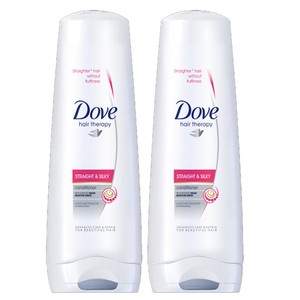 Dove Straight & Silky Conditioner 2 Pack (335ml per pack)
