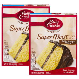 Betty Crocker Super Moist Cake Mix Butter Recipe Yellow 2 Pack (432g per Pack)