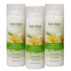 Live Clean Exotic Vitality Monoi Oil Body Wash 3 Pack (500ml per pack)