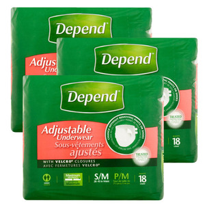 Depend Adjustable Underwear 3 Pack (18's S/M per Pack)