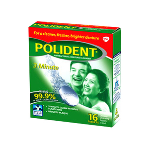 Polident Antibacterial Denture Cleansing Tablet 16's