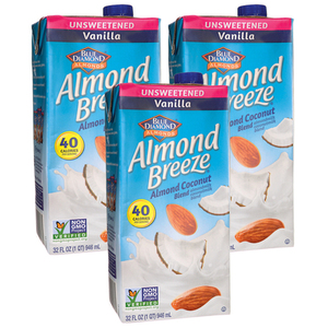 Blue Diamond Almond Breeze Unsweetened Vanilla 3 Pack (946ml per pack)