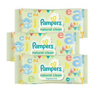 Pampers Natural Clean Baby Wipes 3 Pack (64's per Pack)