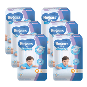 Huggies Dry Diapers Medium 6 Pack (52's per Pack)
