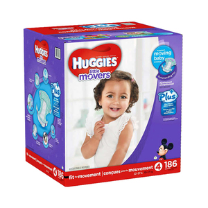 Huggies Little Movers Diapers Size-4 186's