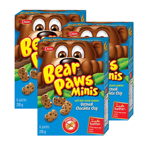 Dare Bear Paws Minis Oatmeal Chocolate Chip 3 Pack (6ct/210g per Box)