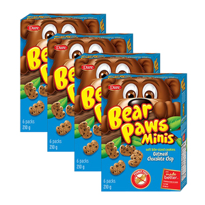 Dare Bear Paws Minis Oatmeal Chocolate Chip 4 Pack (6ct/210g per Box)