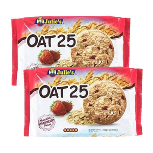 Julie's Oat 25 Made with Strawberry Pieces Cookies 2 Pack (200g per Pack)