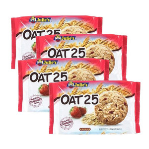 Julie's Oat 25 Made with Strawberry Pieces Cookies 4 Pack (200g per Pack)