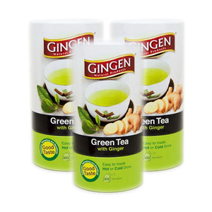 Gingen Green Tea with Ginger 3 Pack (20x2g per Canister)