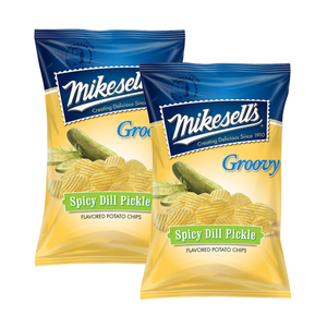 Mikesell's Spicy Dill Pickle Groovy Potato Chips 2 Pack (284g per Pack)