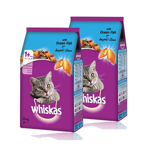 Whiskas Dry Food Adult with Ocean Fish 2 Pack (1.2kg per Pack)