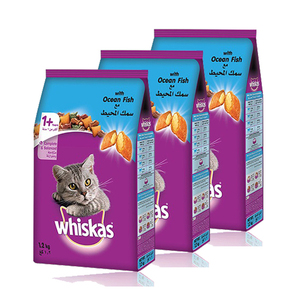 Whiskas Dry Food Adult with Ocean Fish 3 Pack (1.2kg per Pack)