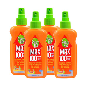 Beach Hut Max SPF100++ Clear Spray Sunscreen 4 Pack (150ml per Bottle)