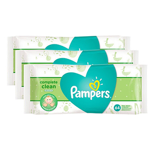 Pampers Complete Clean Unscented Baby Wipes 3 Pack (64's per pack)