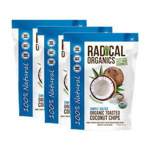 Radical Organics Simply Salted Toasted Coconut Chips 3 Pack (80g per Pack)