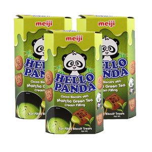 Meiji Hello Panda Green Tea Biscuit 3 Pack (250g per pack)