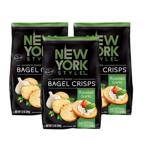 New York Style Bagel Crisps Roasted Garlic 3 Pack (204g per pack)