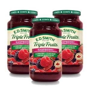 E.D. Smith Triple Fruits Raspberry with Strawberry & Blackberry 3 Pack (500ml per Jar)