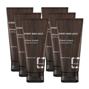 Every Man Jack Fragrance Free Shave Cream 6 Pack (200ml per Tube)