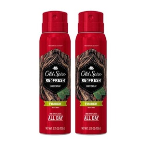 Old Spice Timber Refresh Body Spray 2 Pack (106g per Bottle)